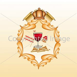 Image עיטור עם כתר מגילות אוזני המן יין רעשן וליצן